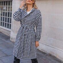 Tweed Mantel mit Selbstguertel, zweireihigen Knopfen und Hahnentritt Muster