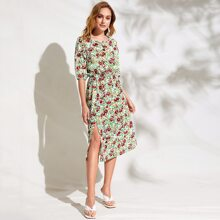 Lantern Sleeve Slit Hem Floral Dress