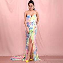 Split Thigh Tie Dye Tube Maxi Dress
