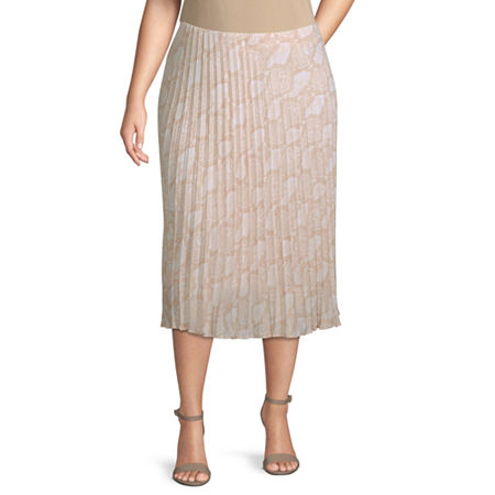 Worthington Womens Pleated Midi Skirt - Plus, 1x , White