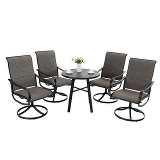 MFSTUDIO 5-Piece Metal Patio Dining Furniture Set with 4 Padded Textilene Swivel Chairs and 1 Round Coffee Table (5-Piece Sets - Grey)