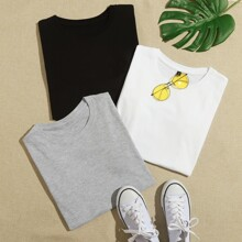 3 piezas camiseta de manga corta de cuello redondo