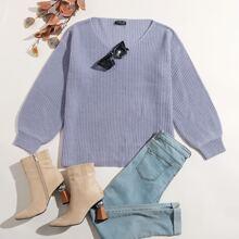 Plus V-neck Drop Shoulder Ribbed Knit Sweater