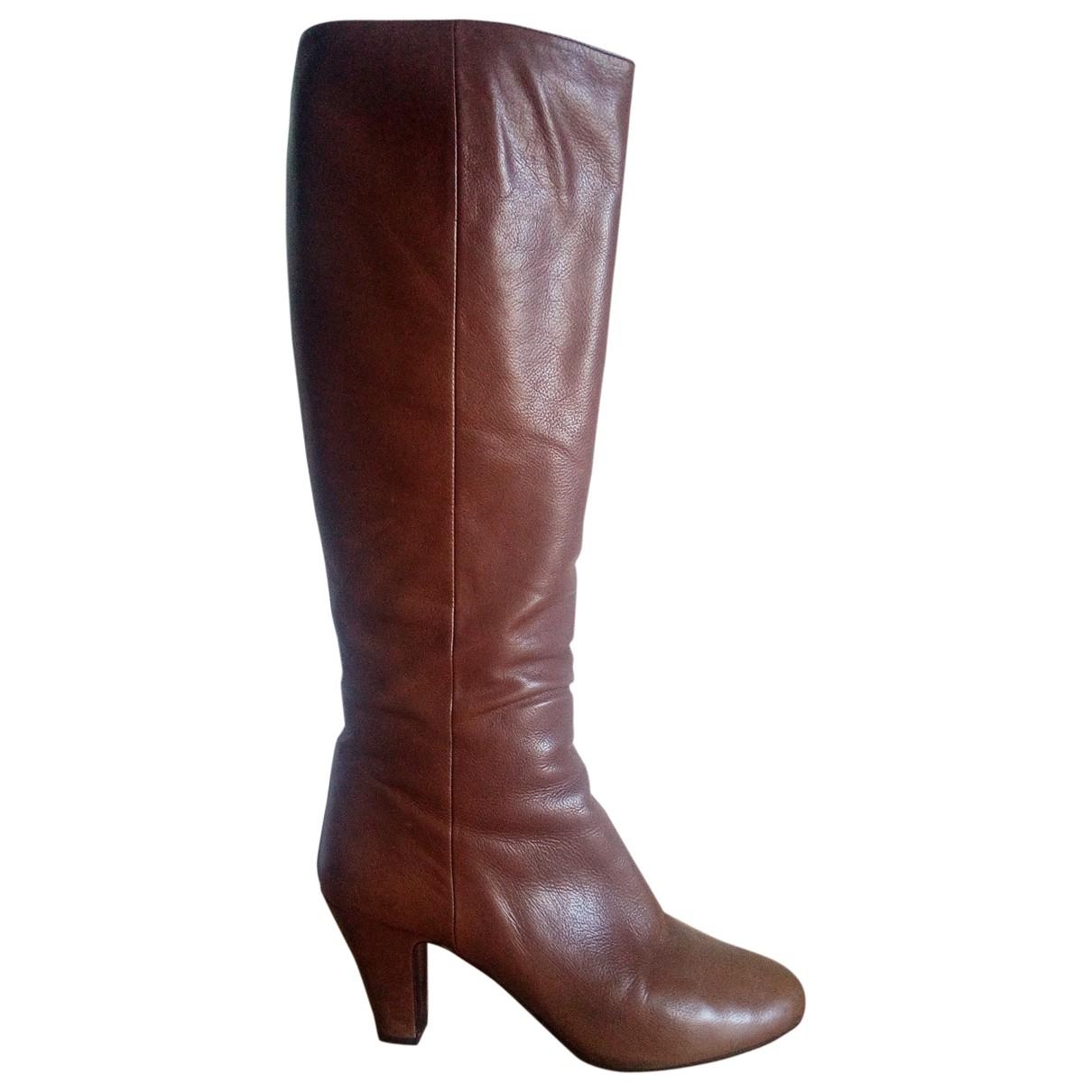 Prada \N Camel Leather Boots for Women 36.5 EU