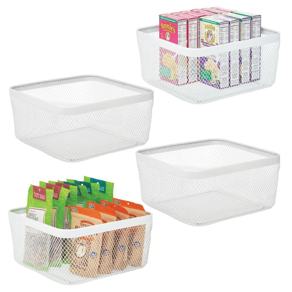 mDesign Metal Wire Basket for Kitchen Food Storage in White, 12