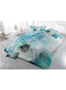 Simple Style Dandelion Wear-resistant Breathable High Quality 60s Cotton 4-Piece 3D Bedding Sets