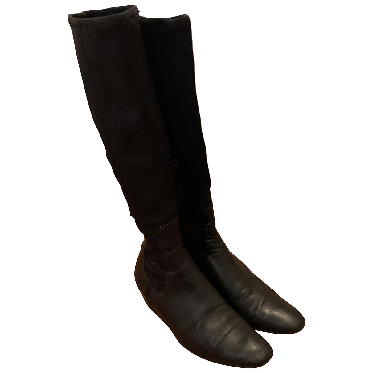 Prada \N Black Leather Boots for Women 37 EU