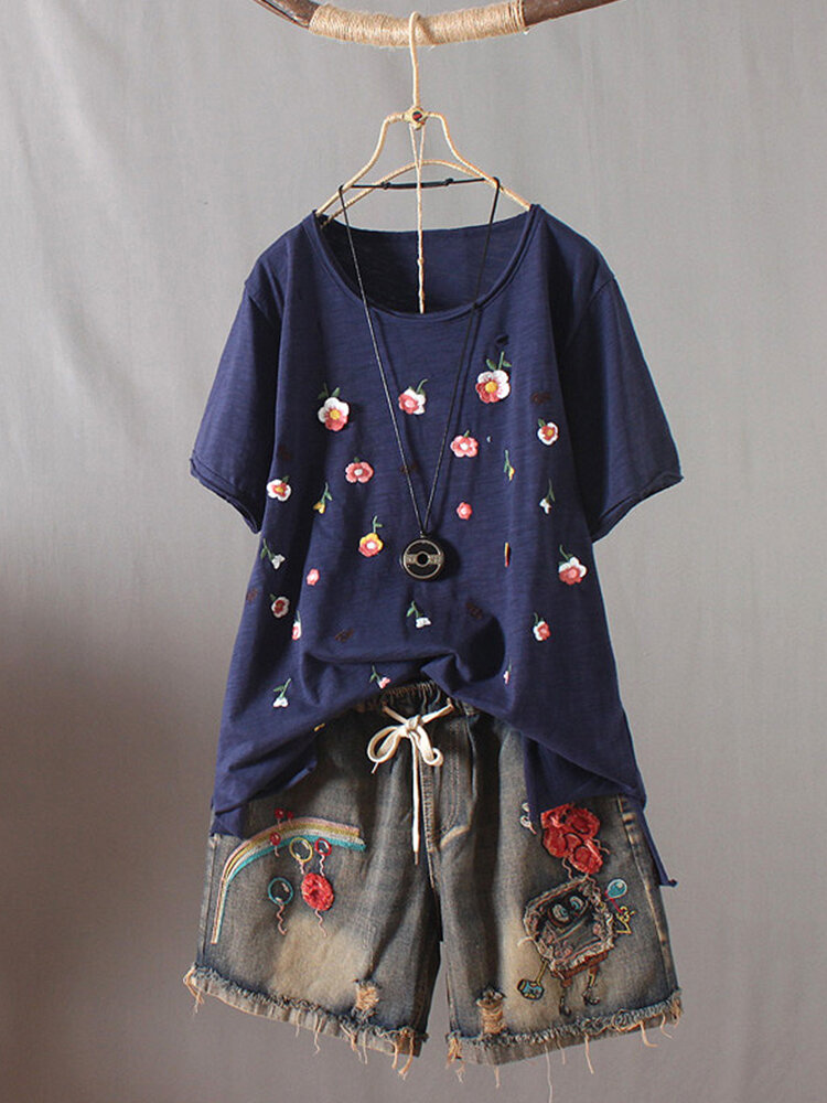 Embroidery Short Sleeve O-Neck Casual T-shirt For Women