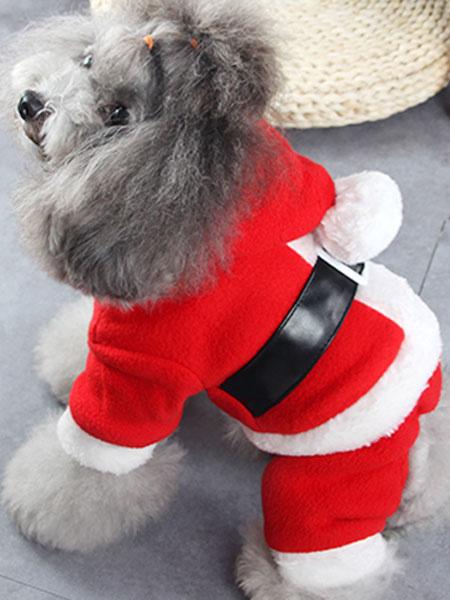 Milanoo Christmas Dog Costume Red Flannel Santa Claus Cat Pet Clothes