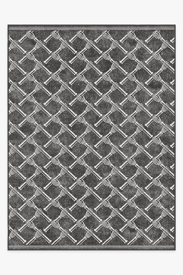 Washable Rug Cover & Pad | Skeleton Trellis Black Rug | Stain-Resistant | Ruggable | 9'x12'