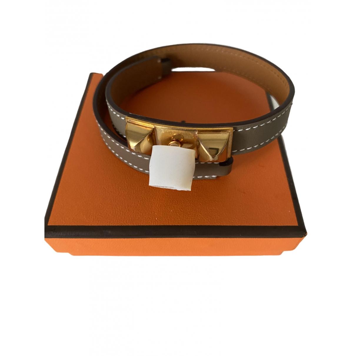 Hermes Rivale Armband in  Braun Leder