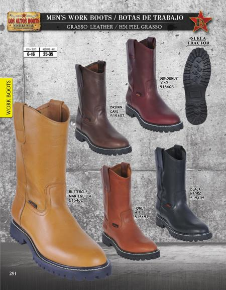 Los Altos Mens Leather Work Boots Industrial Sole Diff. Colors/Sizes