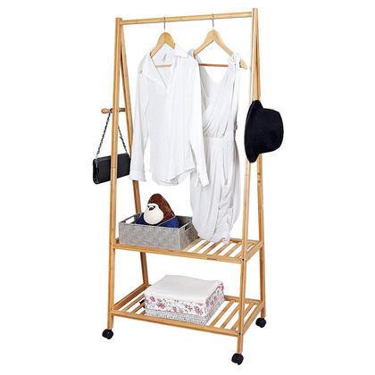 Bamboo Clothing Storage Laundry Rack 4 Coat Hooks 2-tier Shoe Clothes Organizer Shelves - SortWise™