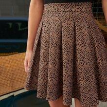 Dalmatian Print Pleated Skirt