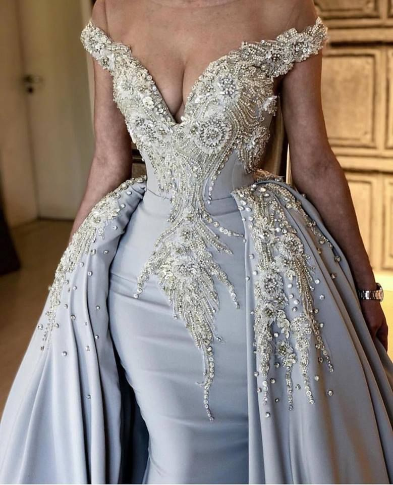 Fashion Off The Shoulder V Neck Mermaid Beading Appliqued Prom Dresses With Overskirt   Blue Sleeveless Long Party Gowns