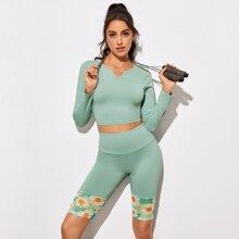 Notched Neck Sport Tee & Floral Panel Biker Shorts