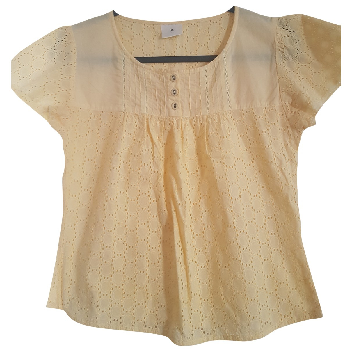 Non Signé / Unsigned \N Yellow Cotton  top for Women 36 FR