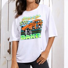 Car And Letter Graphic Oversized Tee