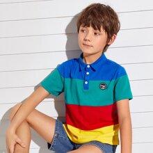 Polo Shirt mit Flicken Detail und Farbblock