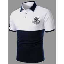 Guys Two Tone Letter Embroidery Polo Shirt