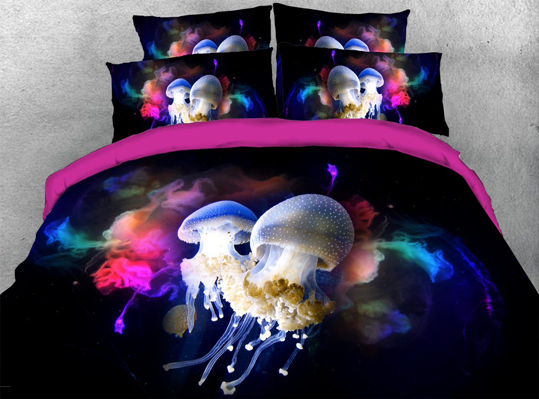Colourful Jelly Fish 3D Scenery Durable 4pcs Bedding Sets No-fading Soft Reactive Printing Zipper Duvet Cover with Ties
