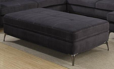 Gatsby 1245-OTT 32 Ottoman with Tufted Detailing  Chrome Legs and Polyester Upholstery in Charcoal
