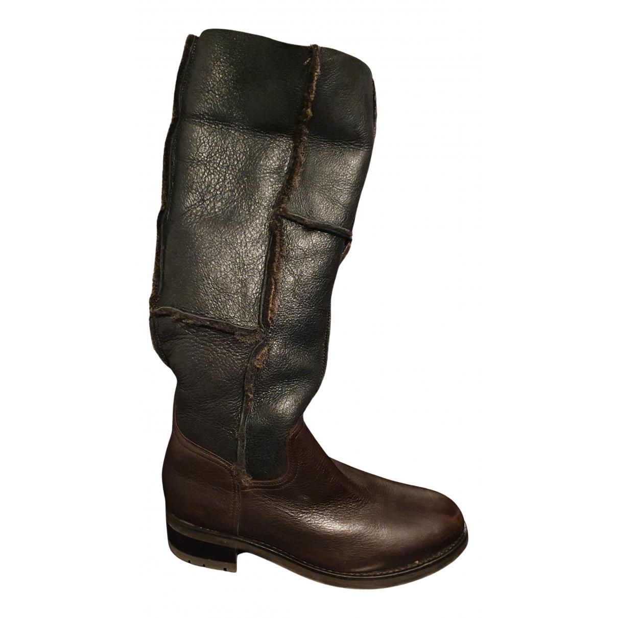 Heschung - Bottes   pour femme en cuir - marron