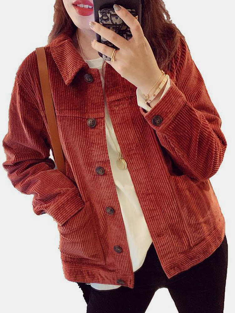 Solid Color Long Sleeves Casual Lapel Corduroy Jacket For Women