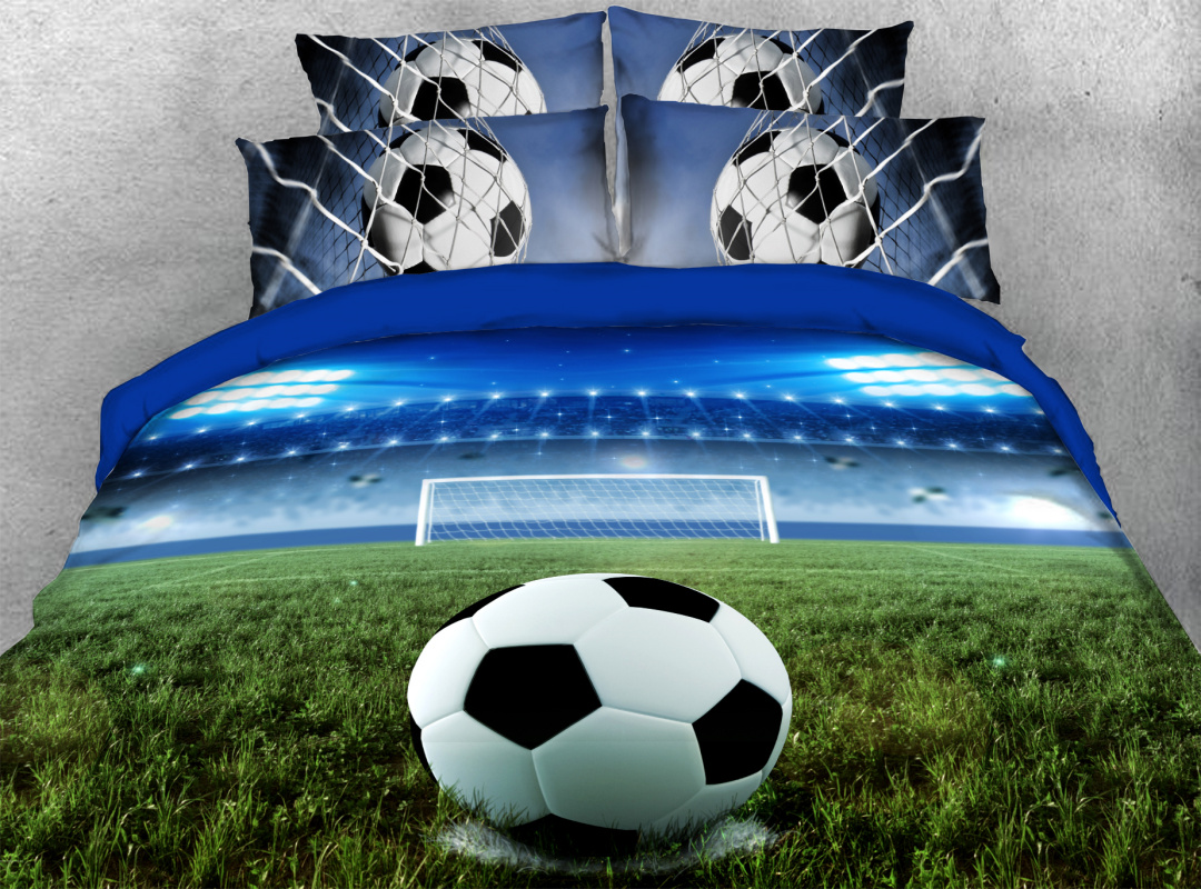 3D Soccer/Football Soft Lightweight Comforter 5Pcs Sporty Warm Comforter Sets with Flat Sheet and 2 Pillowcases