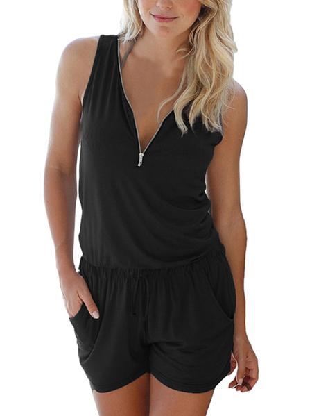 Yoins Auxo V-neck Zip Design Pleated Sleeveless Playsuits