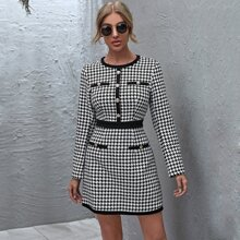 Button Front Zip Back Houndstooth Tweed Dress