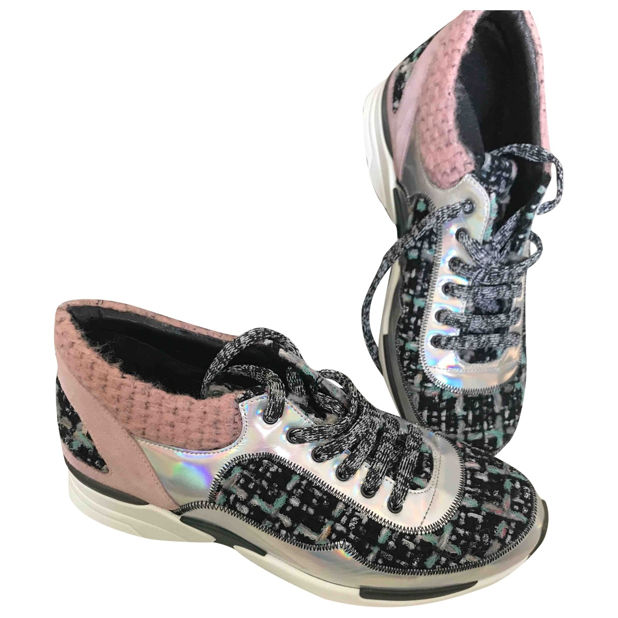 Chanel \N Silver Tweed Trainers for Women 37 EU