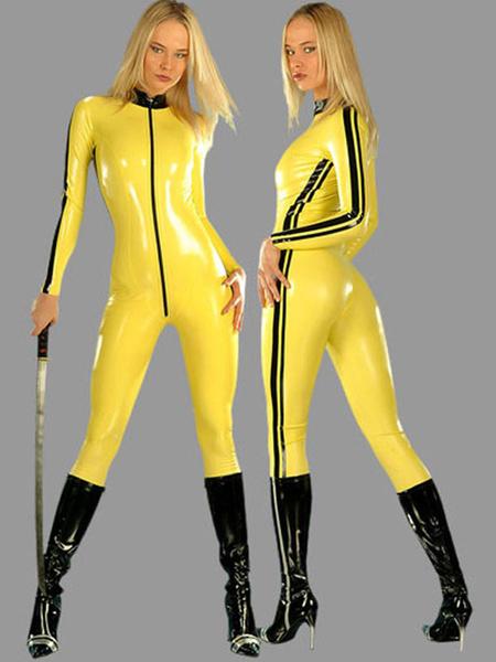 Milanoo Yellow Ninja Catsuits For Women's Sexy PVC Front Zipper Body Suit