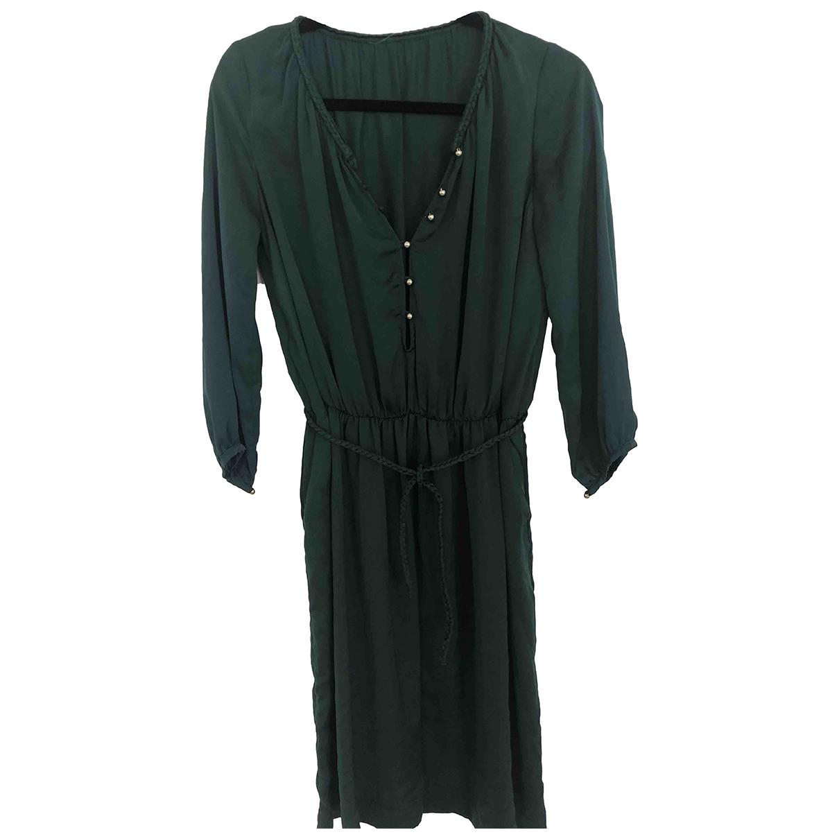 Sandro - Robe   pour femme en soie - vert