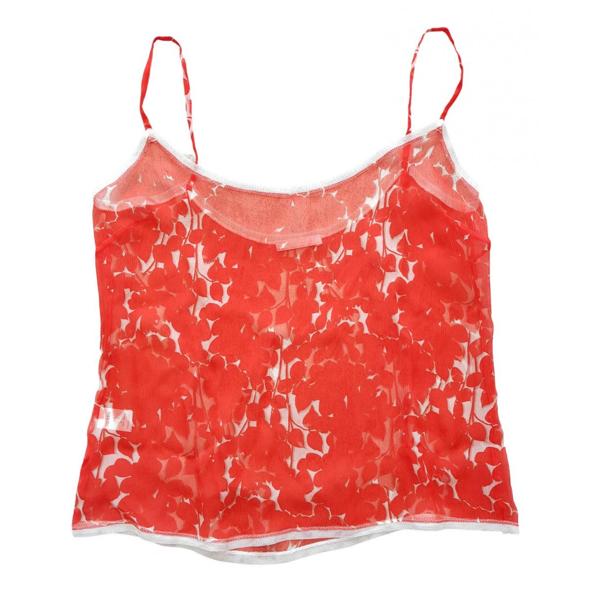 Prada - Top   pour femme en soie - rouge