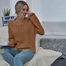 Drop Shoulder Pointelle Knit Sweater