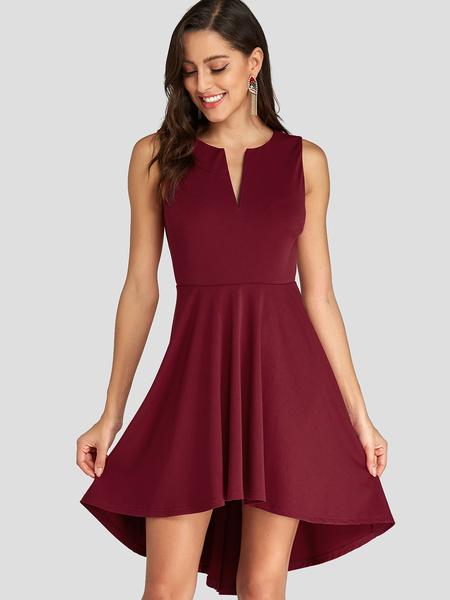 Yoins Burgundy V Neck High-Low Hem Pleated Sleeveless Dress