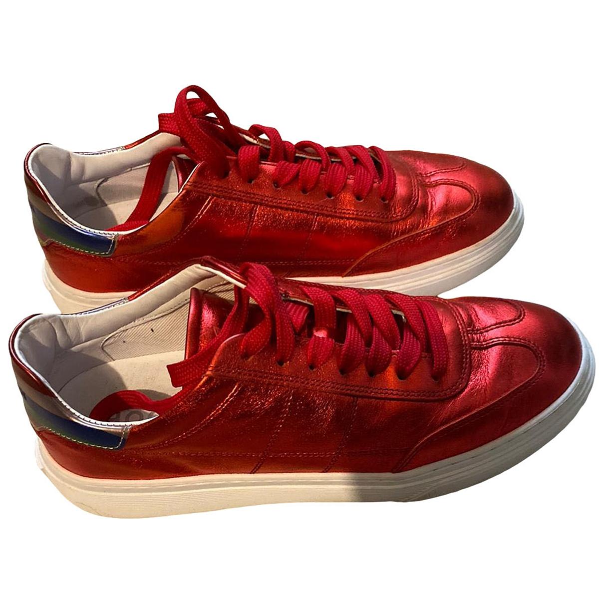 Hogan - Baskets   pour femme en cuir - rouge