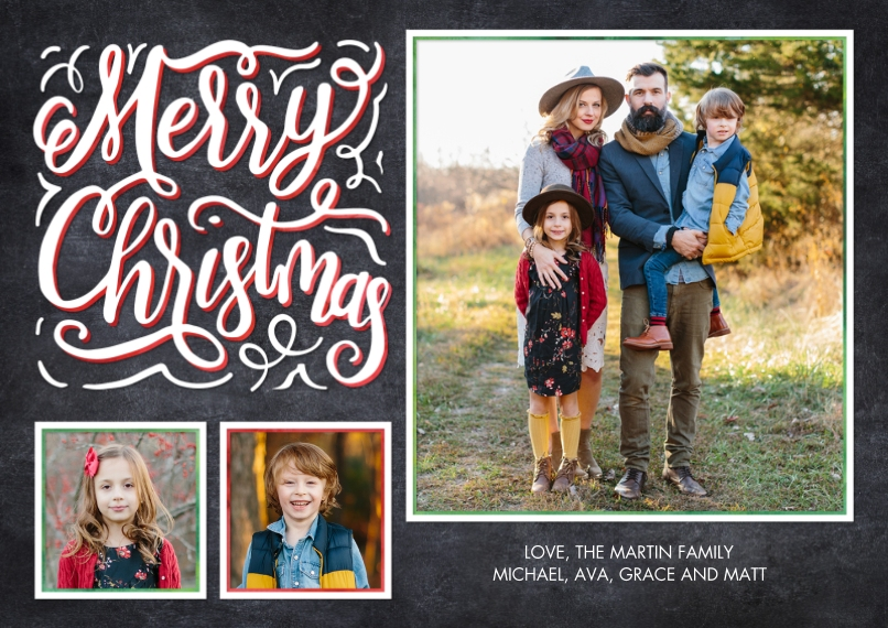 Christmas Photo Cards 5x7 Cards, Premium Cardstock 120lb with Scalloped Corners, Card & Stationery -Christmas Chalkboard Greeting by Tumbalina