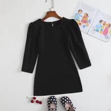 Toddler Girls Solid Puff Sleeve Dress