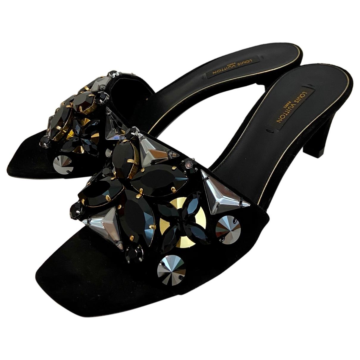 Louis Vuitton N Black Suede Sandals for Women 37 IT