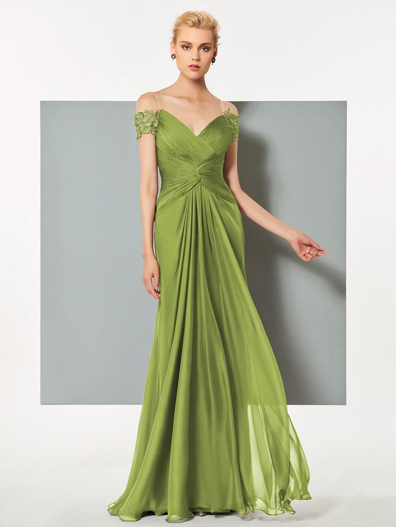 Ericdress A Line Short Sleeve Pleats Deep Back Long Evening Dress