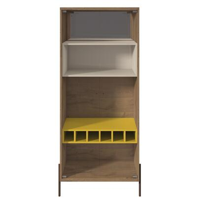 350703 Joy 8-Bottle Wine Cabinet With 4 Shelves In Yellow And Off