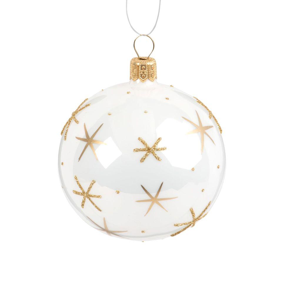 Weihnachtskugel aus Glas, weiss mit goldfarbenen Kristallmotiven