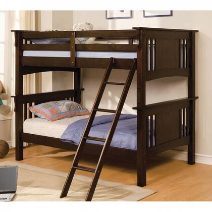 Spring Creek Collection CM-BK602T-EXP-BED Twin/Twin Bunk Bed with Mission Style  Angled Ladder  10 Pc. Slats Top and Bottom  Solid Wood  Wood Veneer
