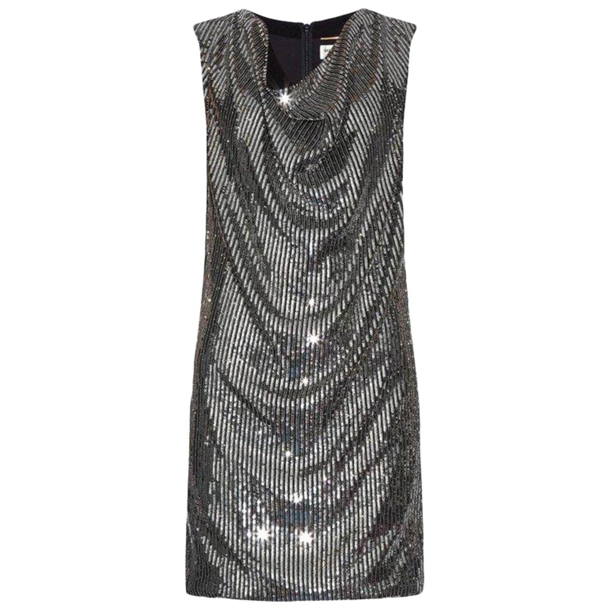 Saint Laurent \N Kleid in  Metallic Seide