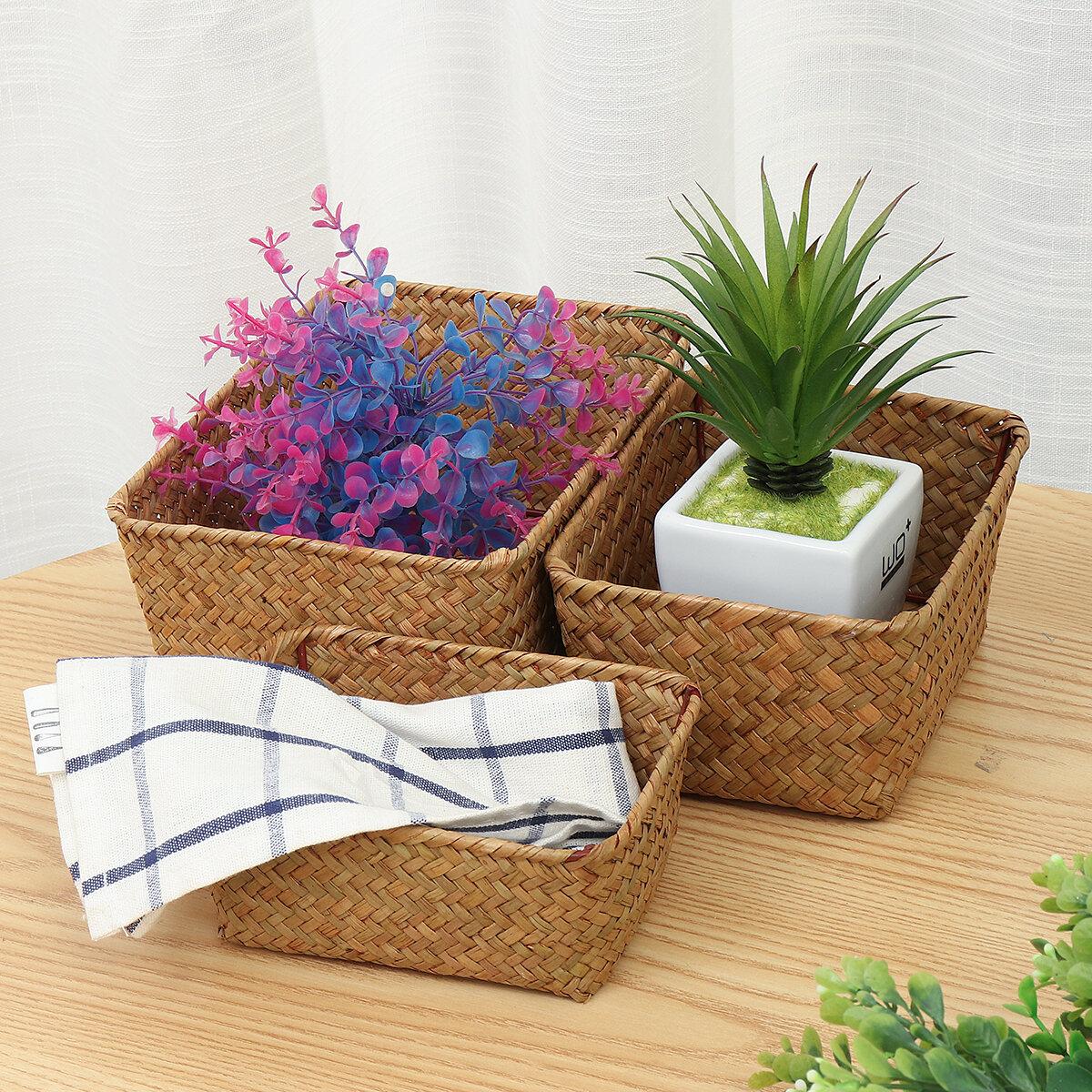 Seagrass Woven Storage Basket Flower Basket Storage Holder Plant Pot Laundry Organizer Bag Garden Decoration