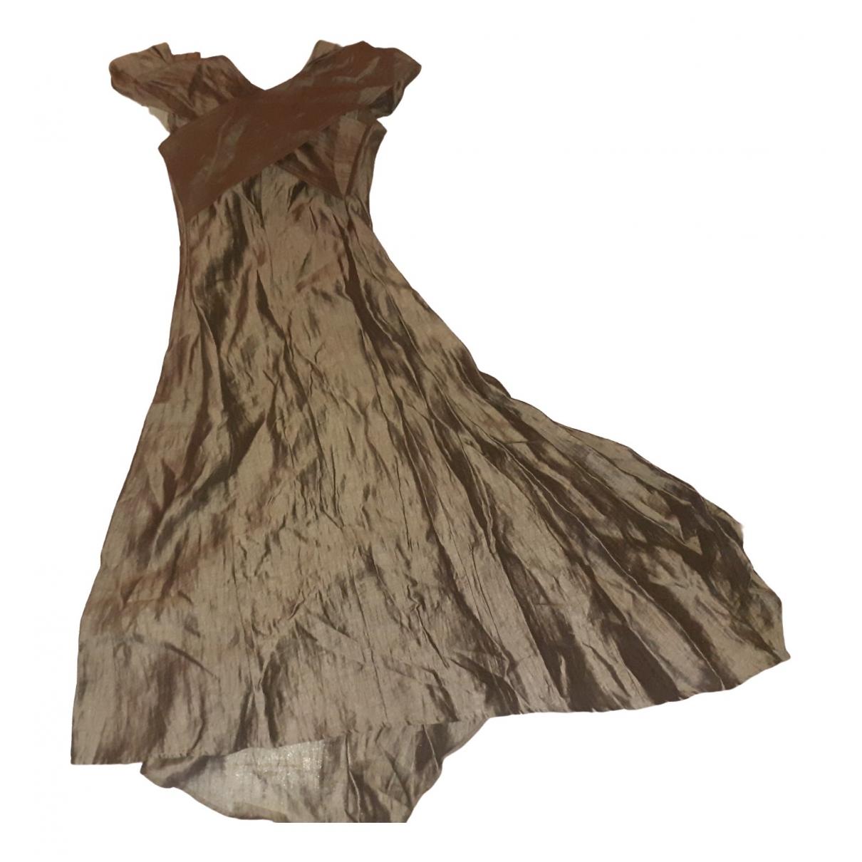 Zapa \N Kleid in  Braun Leinen