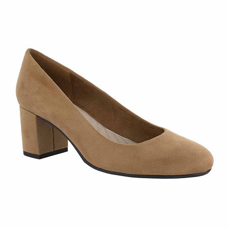 Easy Street Womens Proper Pumps Block Heel, 6 1/2 Narrow, Brown