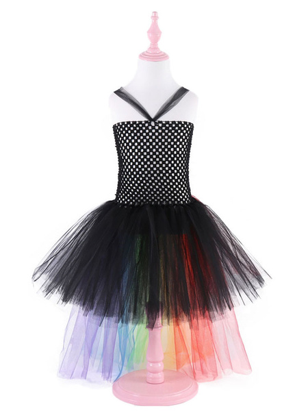 Milanoo Rainbow Unicorn Dresses Baby Girls Halloween Costume Asymmetrical Princess Kids Tutu Fancy Dress